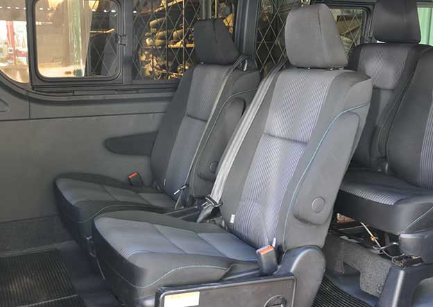 inside-Toyota Regius 9 Passenger. Dual A/C