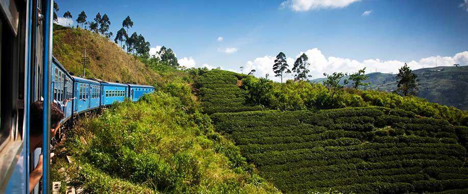 Scenic train ride in Sri Lanka